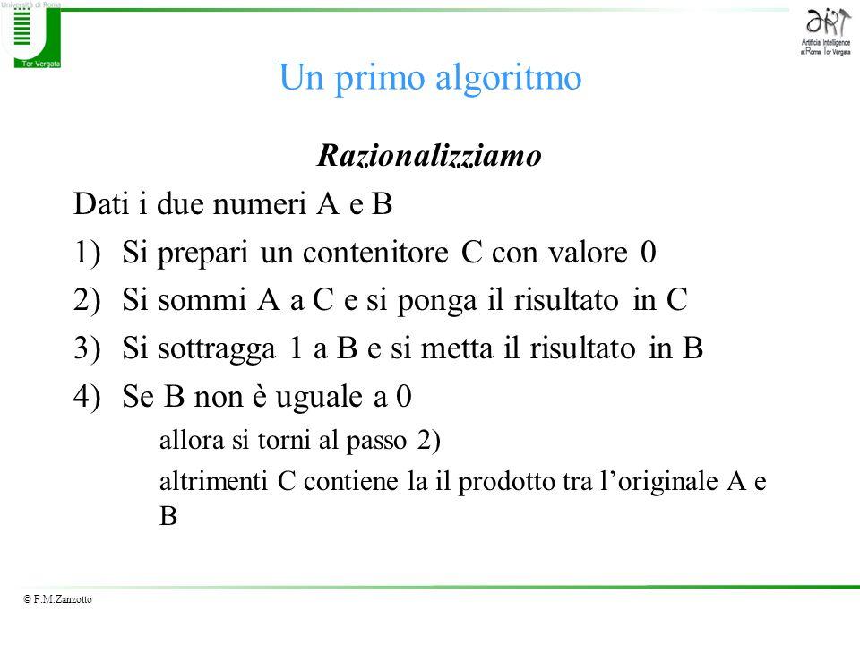 © F.M.Zanzotto Un primo algoritmo Razionalizziamo Dati i due numeri A e B 1)Si prepari un contenitore C con valore 0 2)Si sommi A a C e si ponga il ri