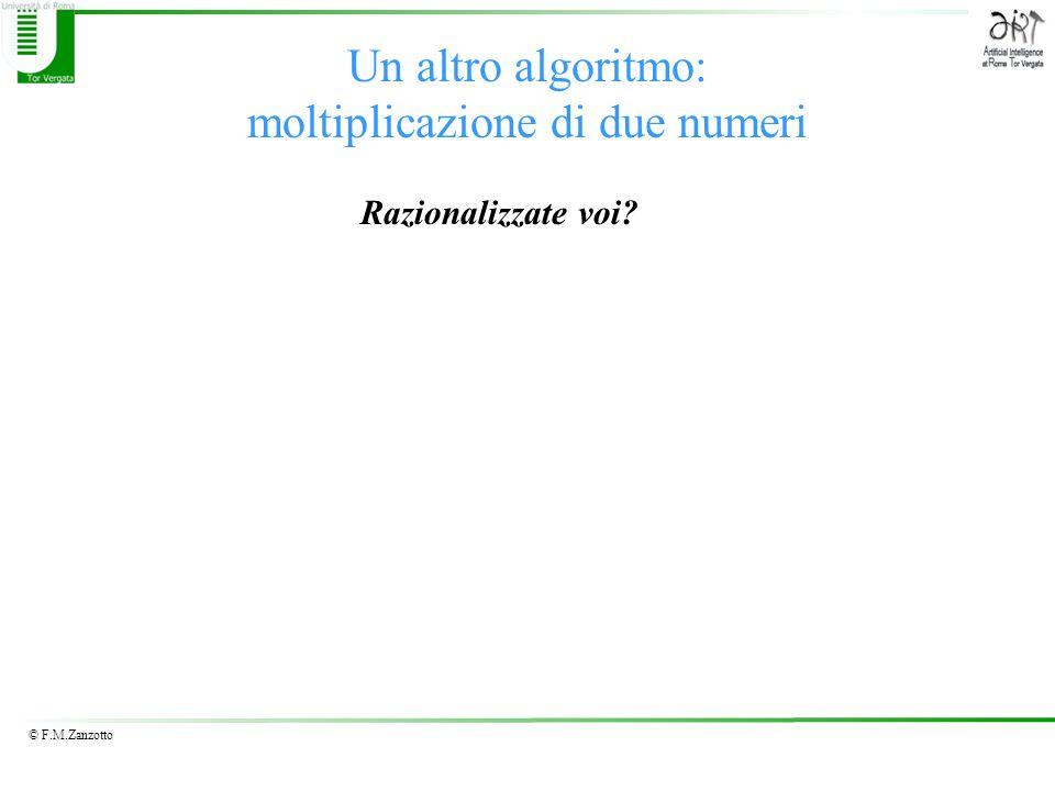 © F.M.Zanzotto Un altro algoritmo: moltiplicazione di due numeri Razionalizzate voi?