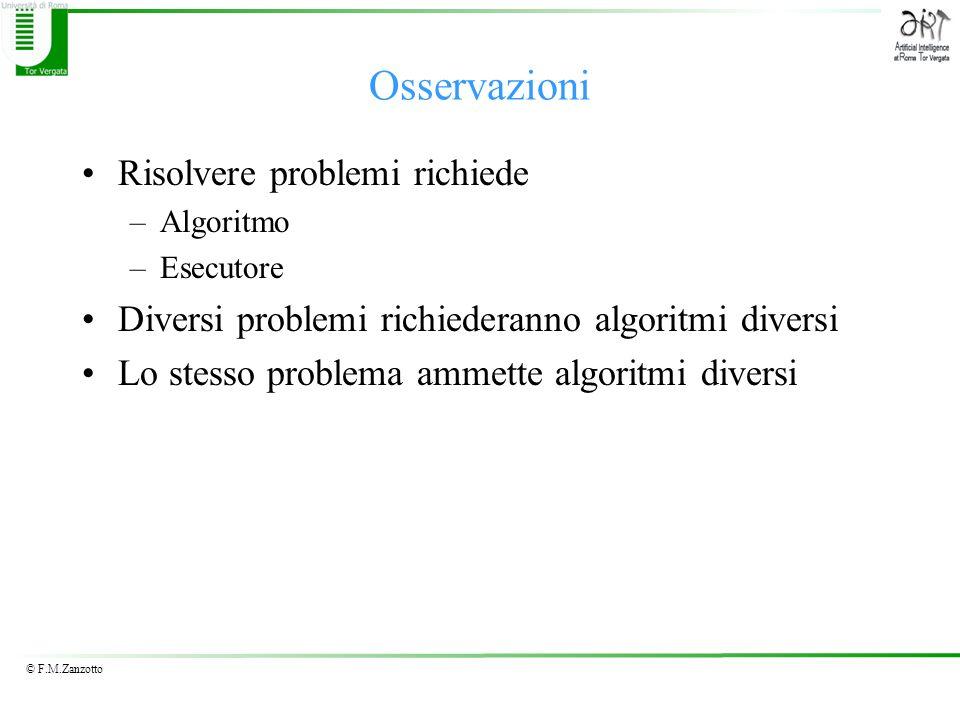 © F.M.Zanzotto Osservazioni Risolvere problemi richiede –Algoritmo –Esecutore Diversi problemi richiederanno algoritmi diversi Lo stesso problema amme