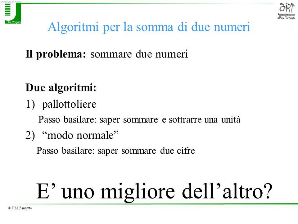 © F.M.Zanzotto Algoritmi per la somma di due numeri Il problema: sommare due numeri Due algoritmi: 1)pallottoliere Passo basilare: saper sommare e sot