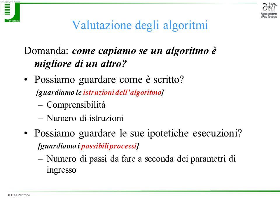 © F.M.Zanzotto Valutazione degli algoritmi Domanda: come capiamo se un algoritmo è migliore di un altro? Possiamo guardare come è scritto? [guardiamo