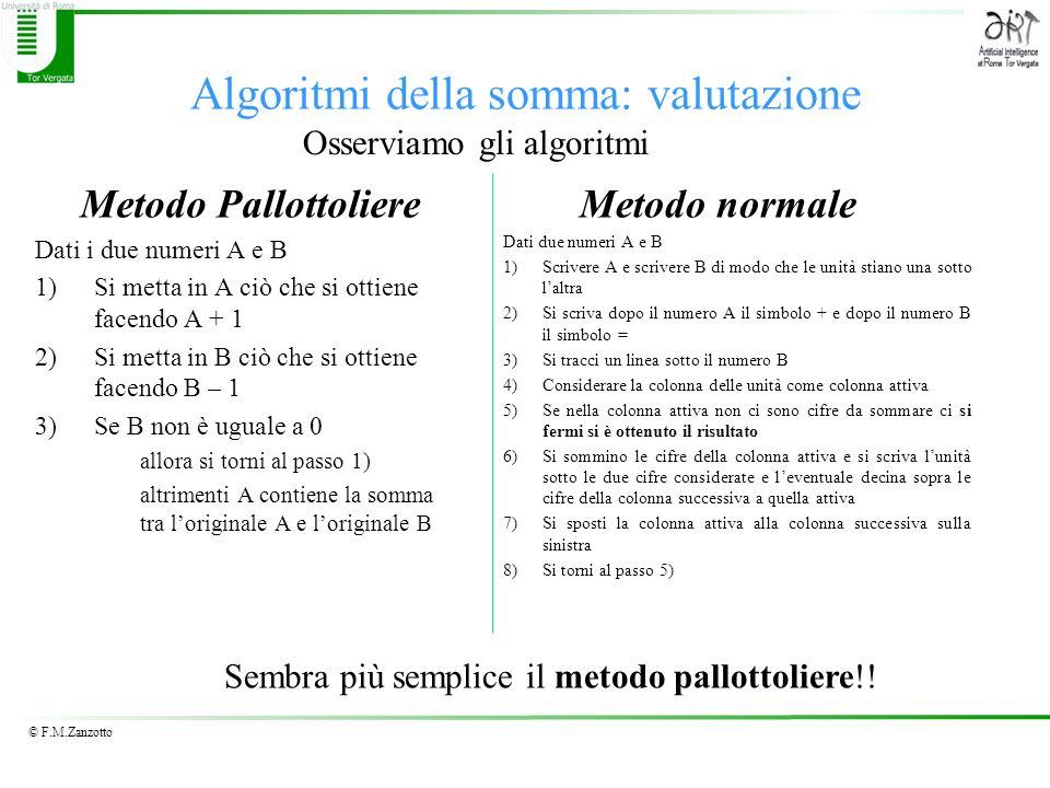 © F.M.Zanzotto Algoritmi della somma: valutazione Metodo Pallottoliere Dati i due numeri A e B 1)Si metta in A ciò che si ottiene facendo A + 1 2)Si m