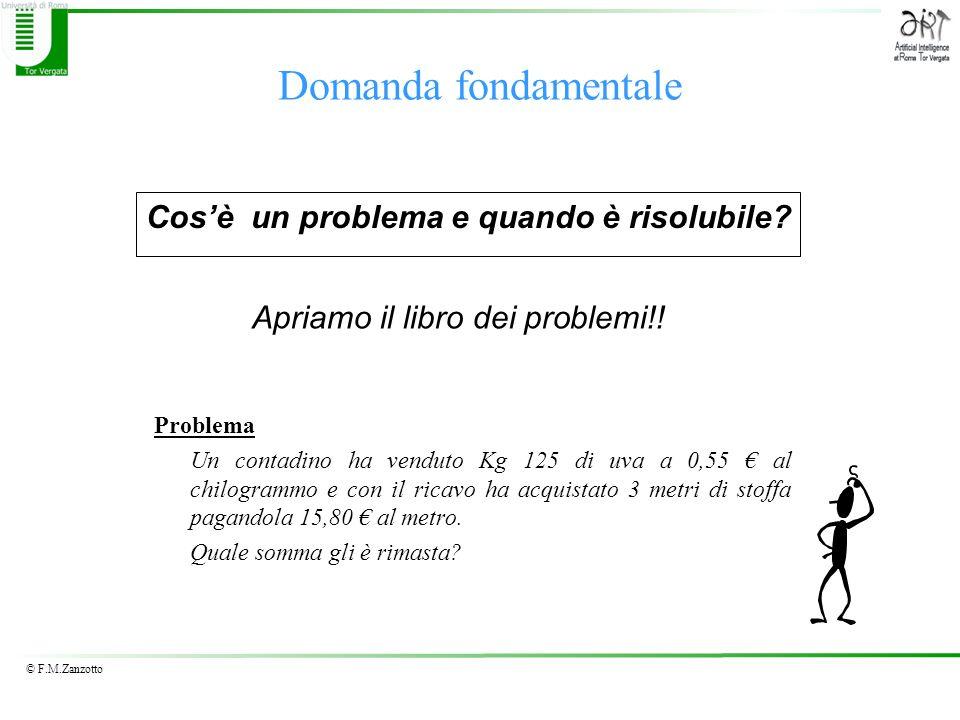 © F.M.Zanzotto Soluzione del problema (1) Soluzione 0,55 /kg 125kg= 68,75 RICAVO UVA VENDUTA 15,80 /m 3m= 47,40SPESA STOFFA 68,75- 47,40 = 21,35SOMMA RIMASTA RISULTATO Al contadino rimangono 21,35