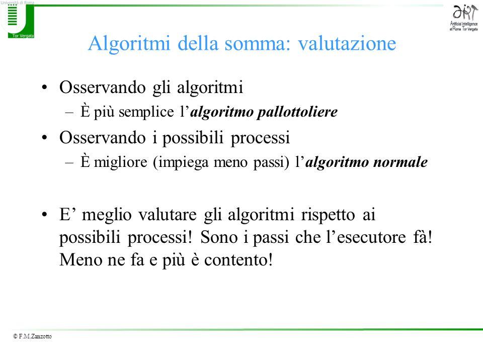 © F.M.Zanzotto Algoritmi della somma: valutazione Osservando gli algoritmi –È più semplice lalgoritmo pallottoliere Osservando i possibili processi –È