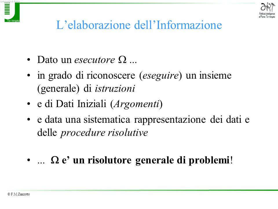 © F.M.Zanzotto Lelaborazione dellInformazione Dato un esecutore... in grado di riconoscere (eseguire) un insieme (generale) di istruzioni e di Dati In
