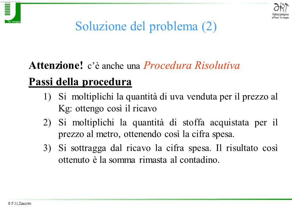 © F.M.Zanzotto Procedura Risolutiva: osservazioni Ricercare ed esprimere una procedura risolutiva –è un atto creativo –è un atto distinto dalla attività Meccanica delle azioni volte a raggiungere il risultato finale.