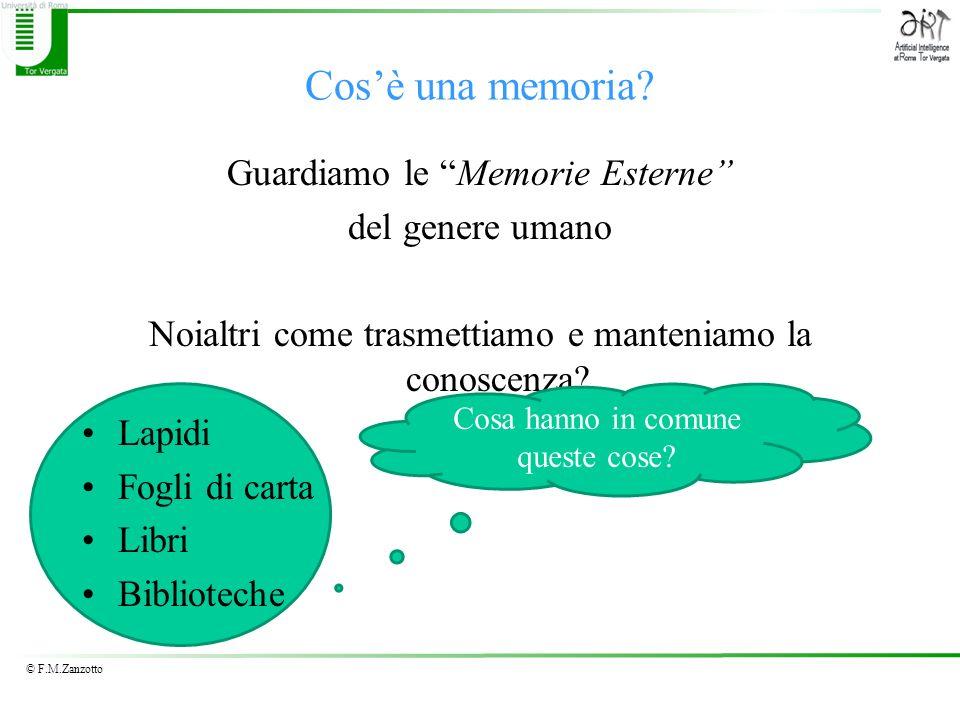 © F.M.Zanzotto Cosè una memoria? Guardiamo le Memorie Esterne del genere umano Noialtri come trasmettiamo e manteniamo la conoscenza? Lapidi Fogli di