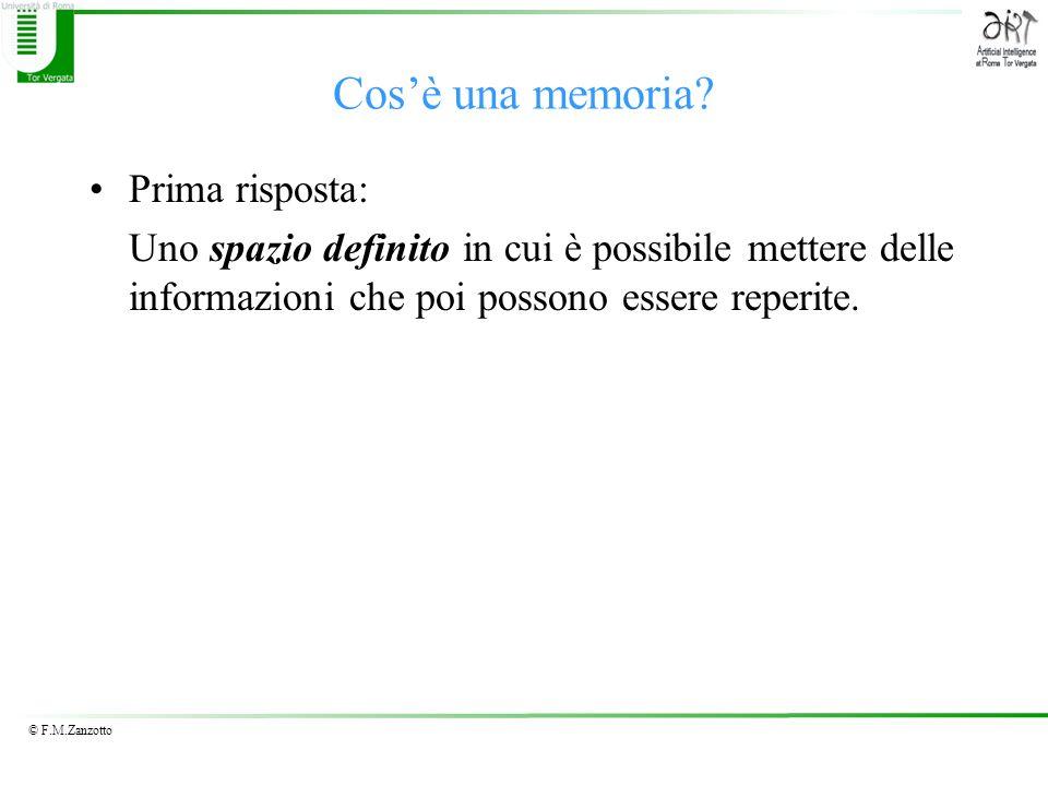 © F.M.Zanzotto Cosè una memoria? Prima risposta: Uno spazio definito in cui è possibile mettere delle informazioni che poi possono essere reperite.