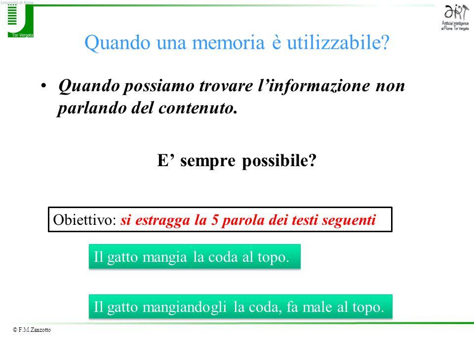 © F.M.Zanzotto Quando una memoria è utilizzabile? Quando possiamo trovare linformazione non parlando del contenuto. E sempre possibile? Il gatto mangi