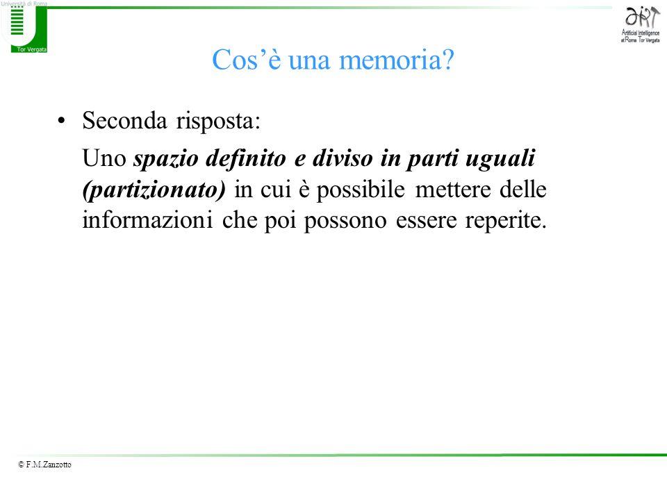 © F.M.Zanzotto Cosè una memoria? Seconda risposta: Uno spazio definito e diviso in parti uguali (partizionato) in cui è possibile mettere delle inform