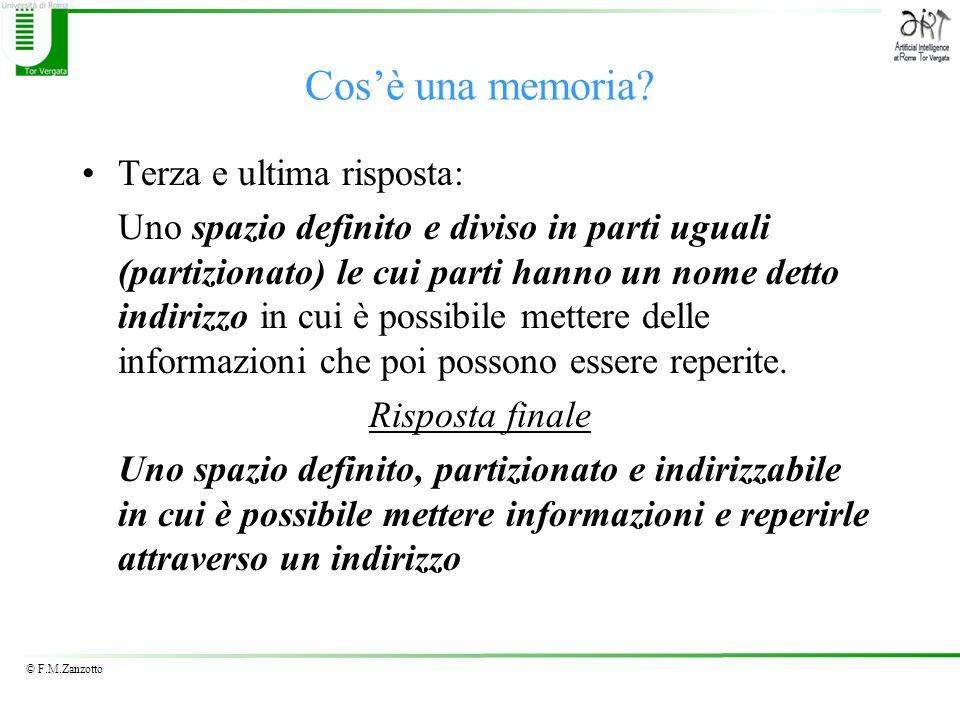 © F.M.Zanzotto Cosè una memoria? Terza e ultima risposta: Uno spazio definito e diviso in parti uguali (partizionato) le cui parti hanno un nome detto