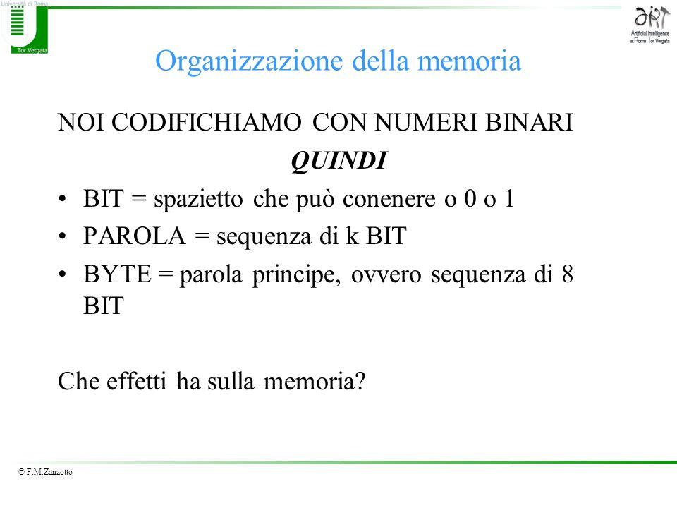 © F.M.Zanzotto Organizzazione della memoria NOI CODIFICHIAMO CON NUMERI BINARI QUINDI BIT = spazietto che può conenere o 0 o 1 PAROLA = sequenza di k BIT BYTE = parola principe, ovvero sequenza di 8 BIT Che effetti ha sulla memoria?