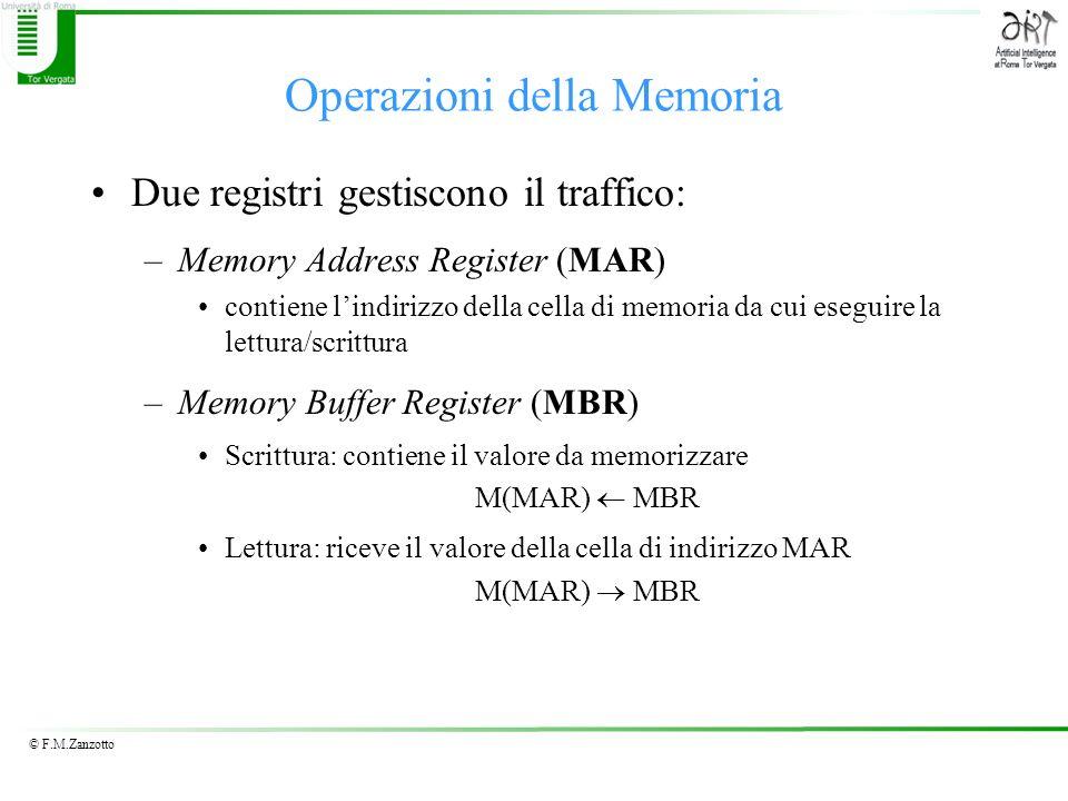 © F.M.Zanzotto Operazioni della Memoria Due registri gestiscono il traffico: –Memory Address Register (MAR) contiene lindirizzo della cella di memoria da cui eseguire la lettura/scrittura –Memory Buffer Register (MBR) Scrittura: contiene il valore da memorizzare M(MAR) MBR Lettura: riceve il valore della cella di indirizzo MAR M(MAR) MBR