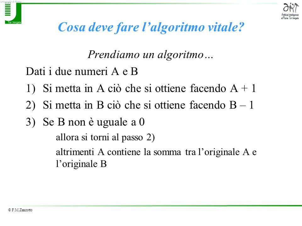 © F.M.Zanzotto Cosa deve fare lalgoritmo vitale? Prendiamo un algoritmo… Dati i due numeri A e B 1)Si metta in A ciò che si ottiene facendo A + 1 2)Si