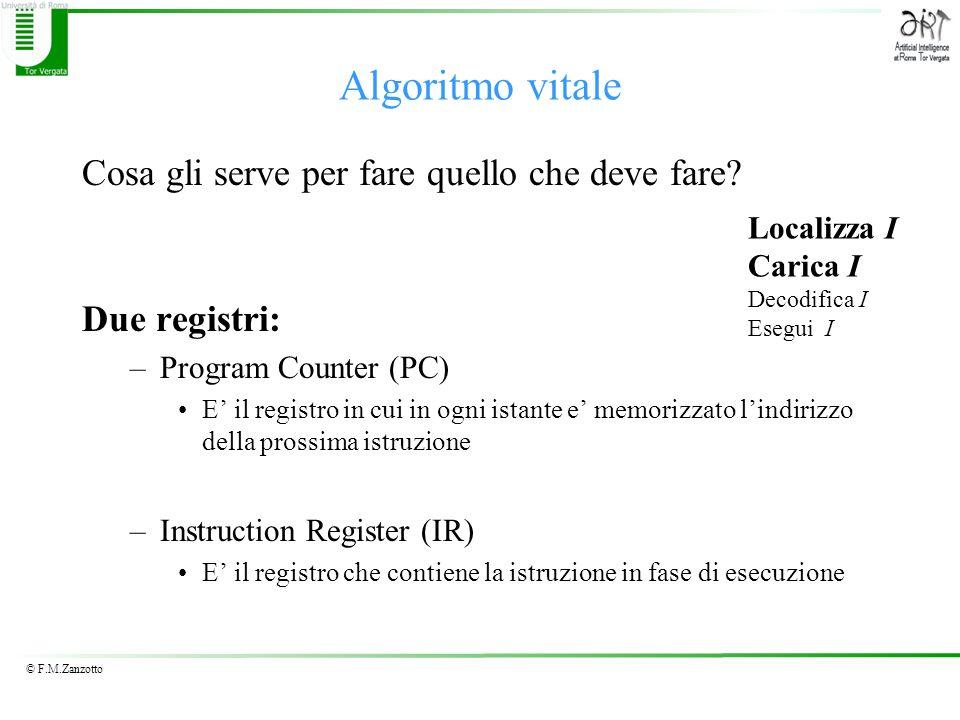 © F.M.Zanzotto Algoritmo vitale Cosa gli serve per fare quello che deve fare? Due registri: –Program Counter (PC) E il registro in cui in ogni istante