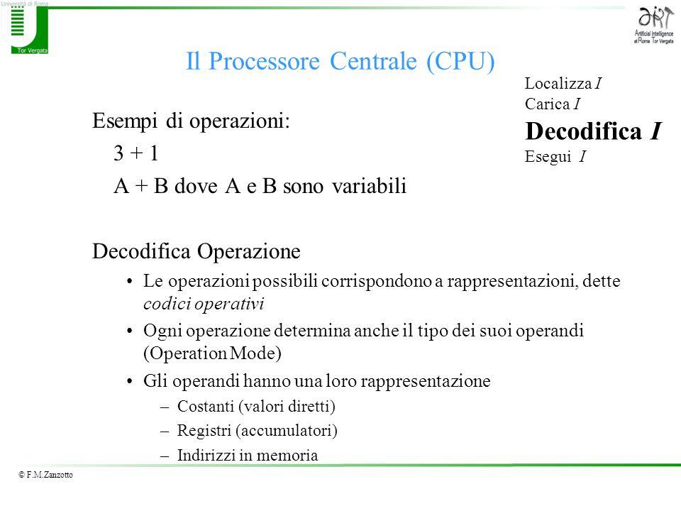 © F.M.Zanzotto Il Processore Centrale (CPU) Esempi di operazioni: 3 + 1 A + B dove A e B sono variabili Decodifica Operazione Le operazioni possibili