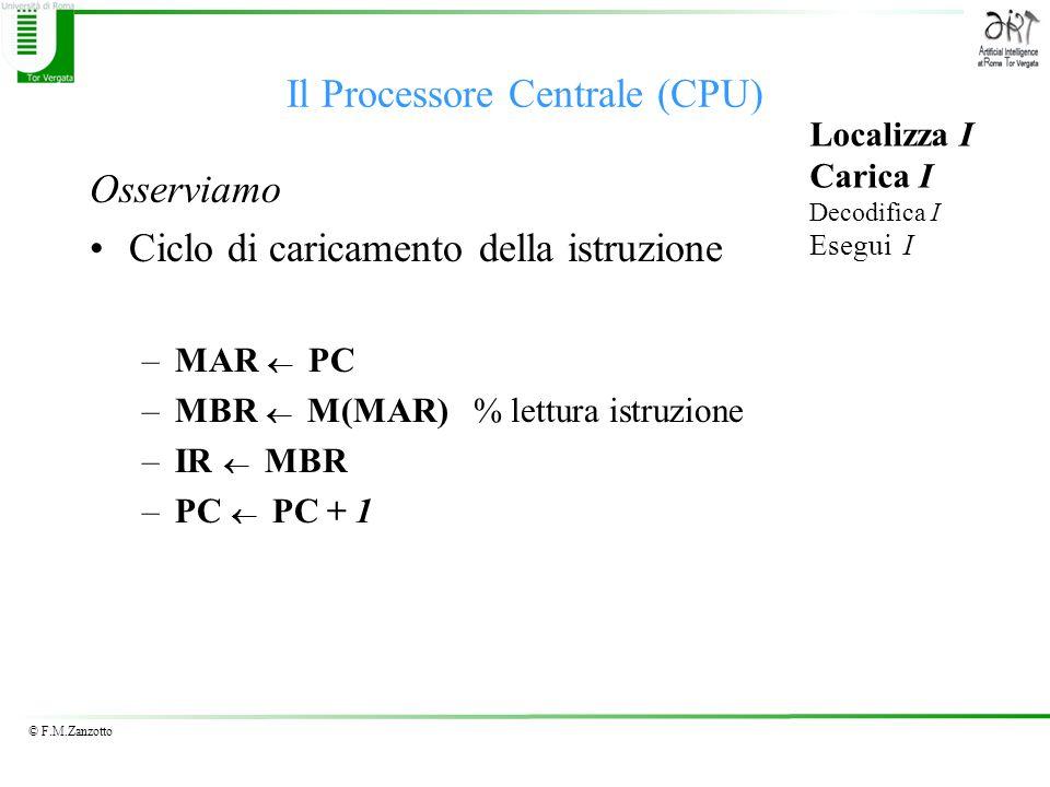 © F.M.Zanzotto Il Processore Centrale (CPU) Osserviamo Ciclo di caricamento della istruzione –MAR PC –MBR M(MAR) % lettura istruzione –IR MBR –PC PC + 1 Localizza I Carica I Decodifica I Esegui I