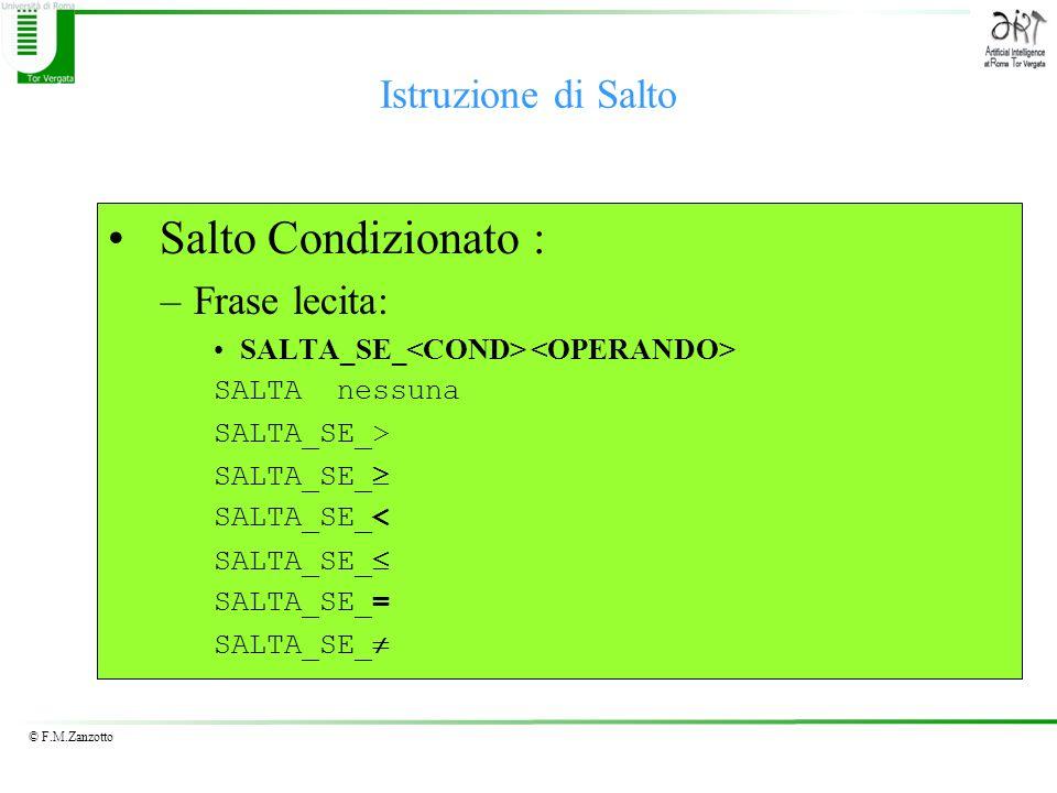 © F.M.Zanzotto Istruzione di Salto Salto Condizionato : –Frase lecita: SALTA_SE_ SALTA nessuna SALTA_SE_> SALTA_SE_ SALTA_SE_< SALTA_SE_ SALTA_SE_= SA