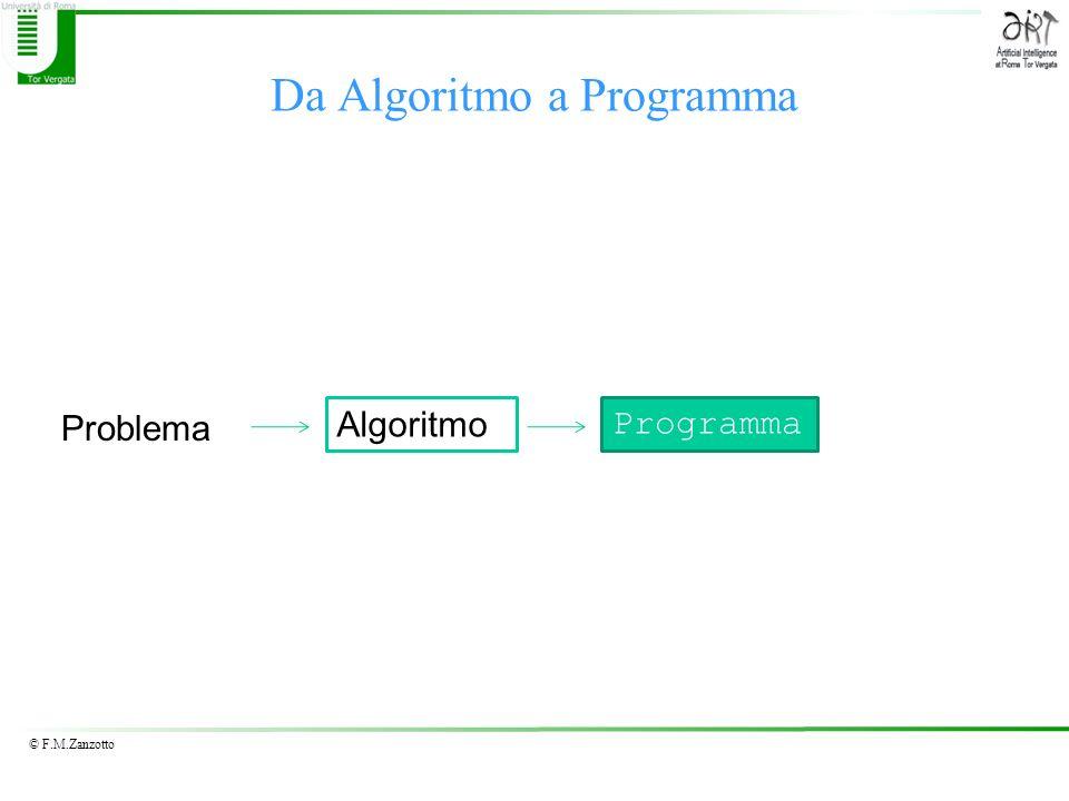 © F.M.Zanzotto Da Algoritmo a Programma Problema Algoritmo Programma