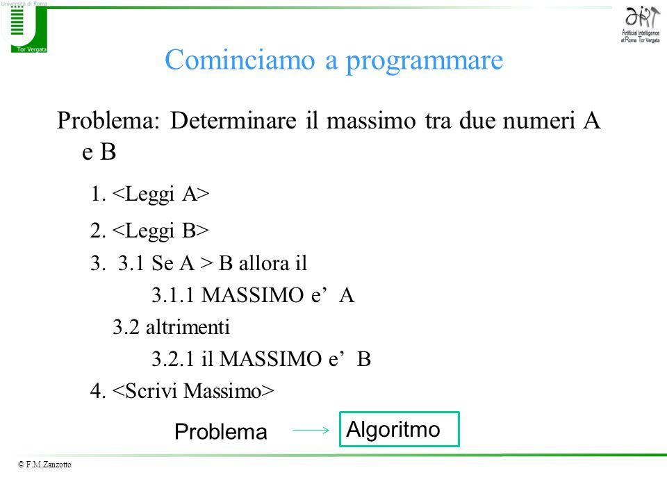 © F.M.Zanzotto Cominciamo a programmare Problema: Determinare il massimo tra due numeri A e B 1. 2. 3. 3.1 Se A > B allora il 3.1.1 MASSIMO e A 3.2 al