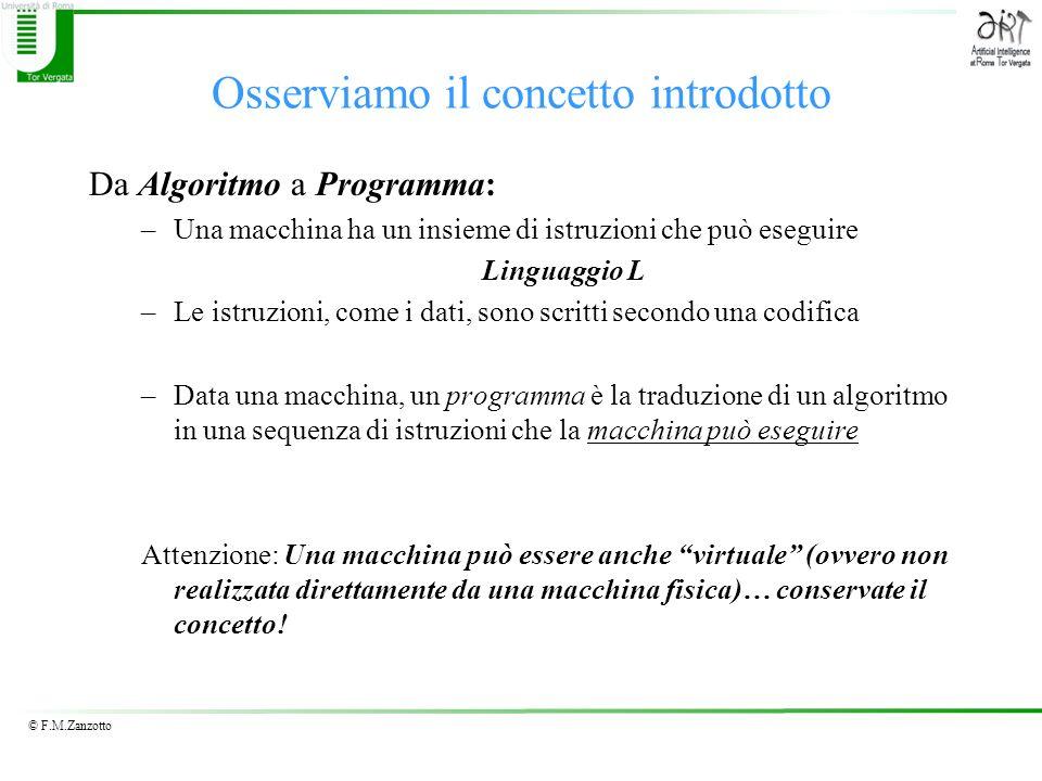 © F.M.Zanzotto Osserviamo il concetto introdotto Da Algoritmo a Programma: –Una macchina ha un insieme di istruzioni che può eseguire Linguaggio L –Le