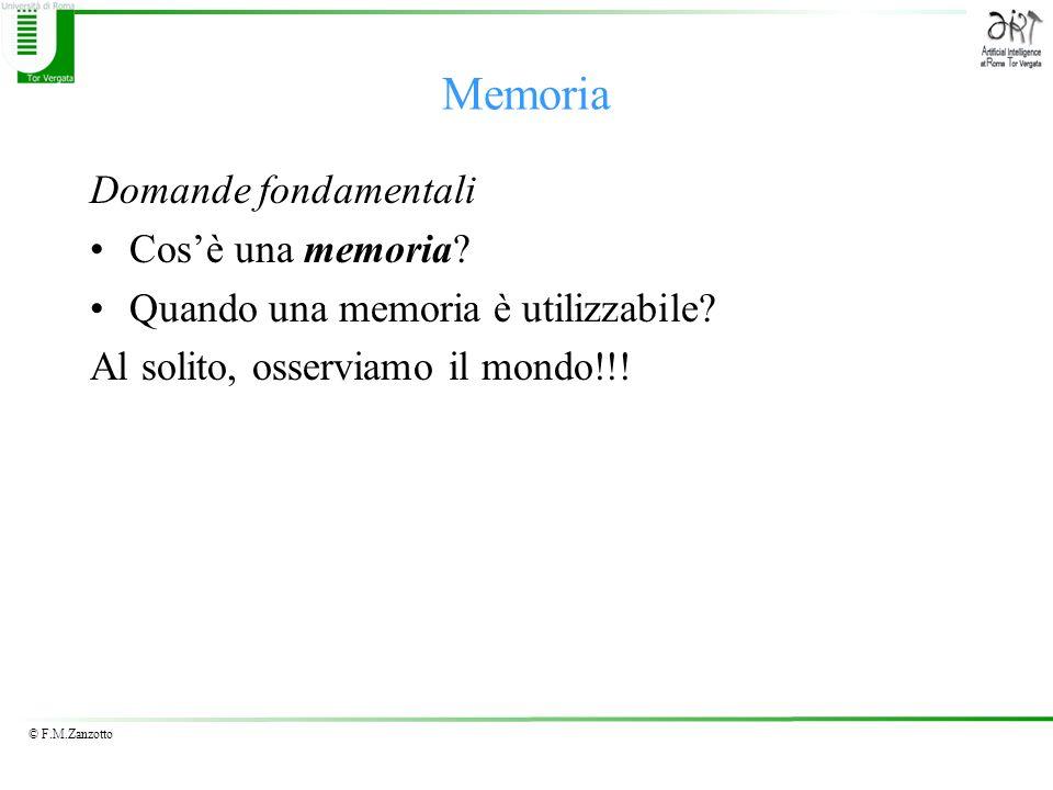© F.M.Zanzotto Memoria Domande fondamentali Cosè una memoria? Quando una memoria è utilizzabile? Al solito, osserviamo il mondo!!!