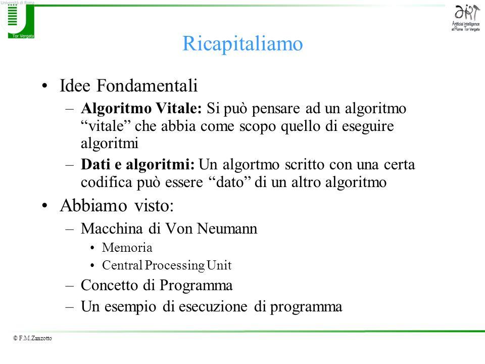 © F.M.Zanzotto Ricapitaliamo Idee Fondamentali –Algoritmo Vitale: Si può pensare ad un algoritmo vitale che abbia come scopo quello di eseguire algori