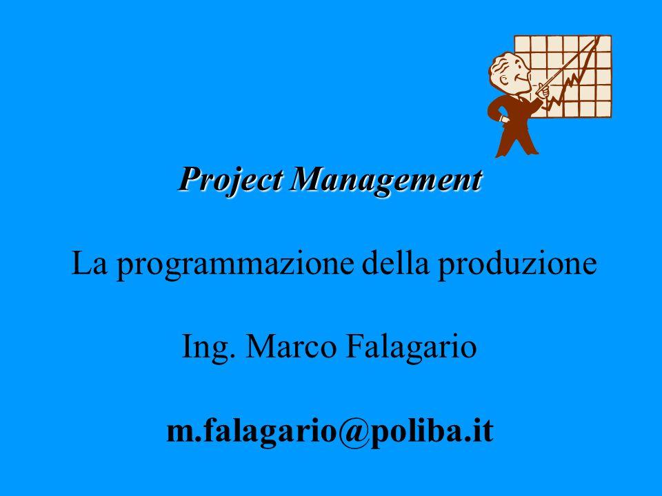 Project Management Project Management La programmazione della produzione Ing. Marco Falagario m.falagario@poliba.it