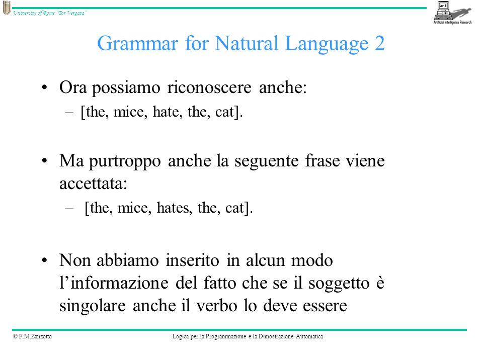 © F.M.ZanzottoLogica per la Programmazione e la Dimostrazione Automatica University of Rome Tor Vergata Ora possiamo riconoscere anche: –[the, mice, h
