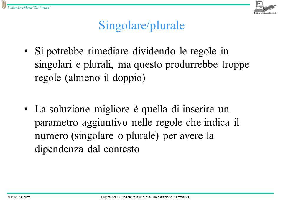 © F.M.ZanzottoLogica per la Programmazione e la Dimostrazione Automatica University of Rome Tor Vergata Si potrebbe rimediare dividendo le regole in s