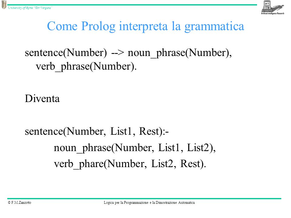 © F.M.ZanzottoLogica per la Programmazione e la Dimostrazione Automatica University of Rome Tor Vergata sentence(Number) --> noun_phrase(Number), verb