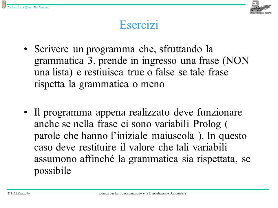 © F.M.ZanzottoLogica per la Programmazione e la Dimostrazione Automatica University of Rome Tor Vergata Scrivere un programma che, sfruttando la gramm