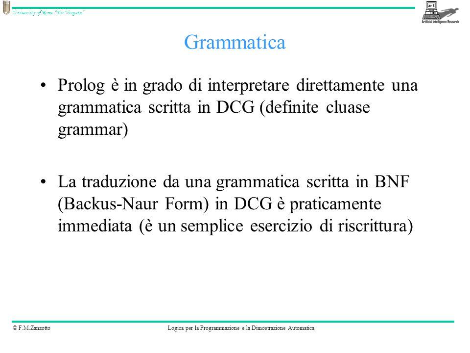 © F.M.ZanzottoLogica per la Programmazione e la Dimostrazione Automatica University of Rome Tor Vergata BNF: ::= a b DCG s --> [a], [b].
