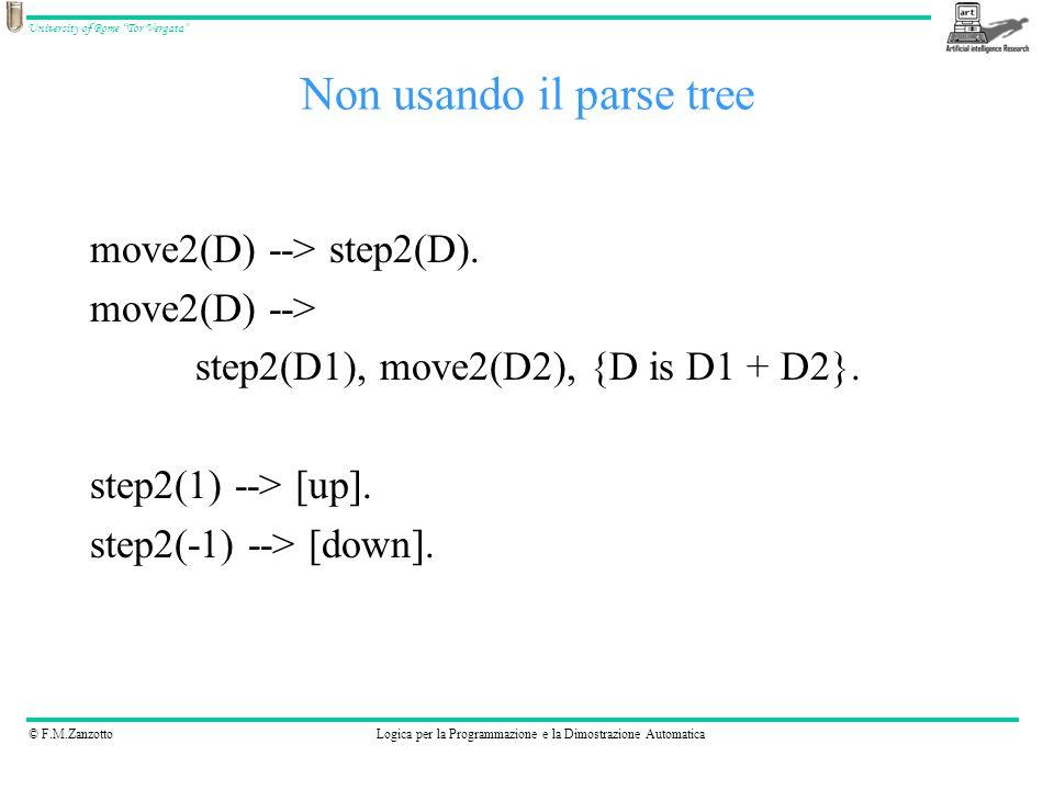© F.M.ZanzottoLogica per la Programmazione e la Dimostrazione Automatica University of Rome Tor Vergata move2(D) --> step2(D). move2(D) --> step2(D1),