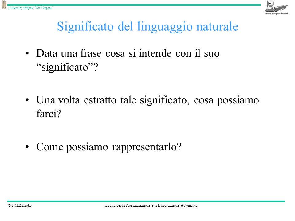 © F.M.ZanzottoLogica per la Programmazione e la Dimostrazione Automatica University of Rome Tor Vergata Data una frase cosa si intende con il suo sign