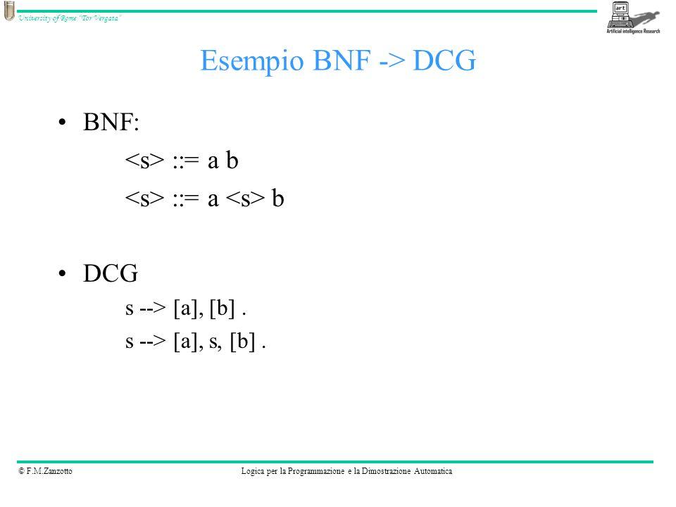 © F.M.ZanzottoLogica per la Programmazione e la Dimostrazione Automatica University of Rome Tor Vergata BNF: ::= a b DCG s --> [a], [b]. s --> [a], s,