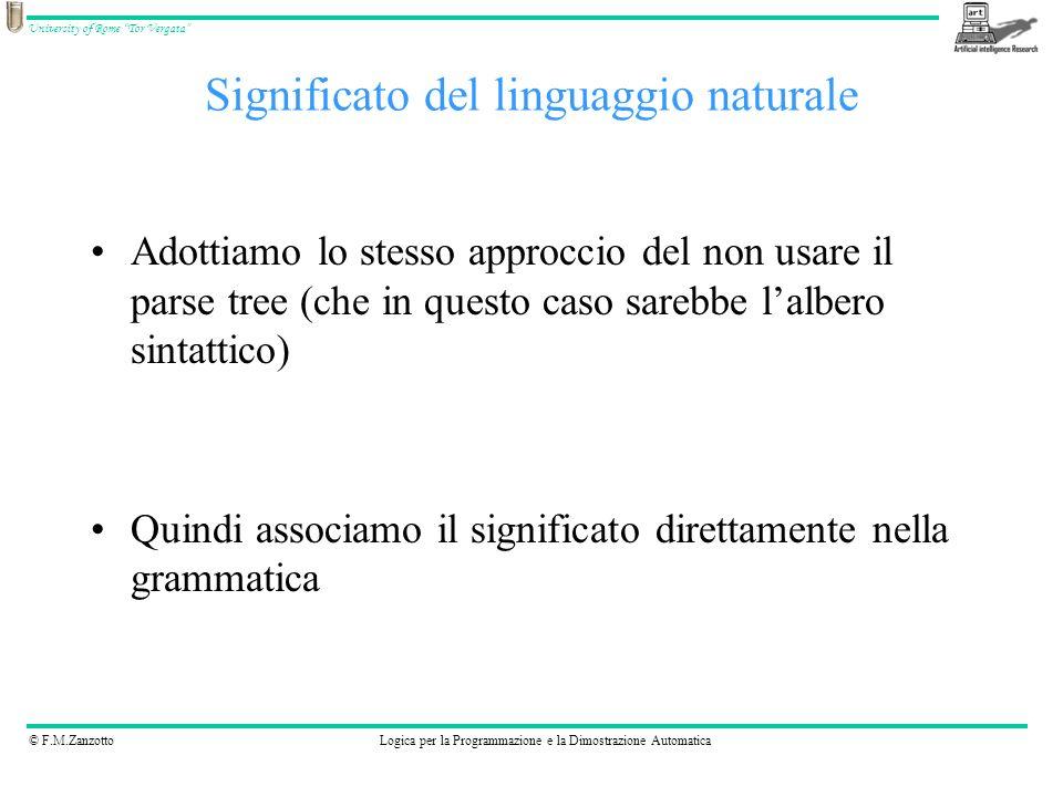 © F.M.ZanzottoLogica per la Programmazione e la Dimostrazione Automatica University of Rome Tor Vergata Adottiamo lo stesso approccio del non usare il