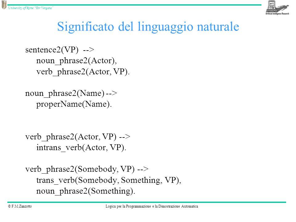 © F.M.ZanzottoLogica per la Programmazione e la Dimostrazione Automatica University of Rome Tor Vergata sentence2(VP) --> noun_phrase2(Actor), verb_ph