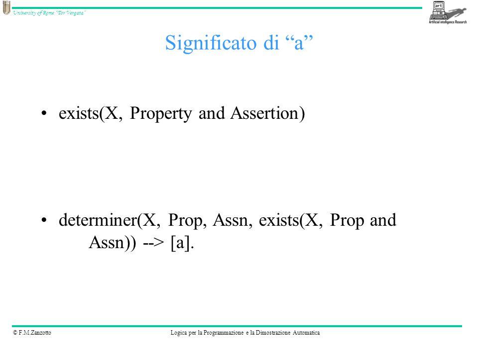 © F.M.ZanzottoLogica per la Programmazione e la Dimostrazione Automatica University of Rome Tor Vergata exists(X, Property and Assertion) determiner(X