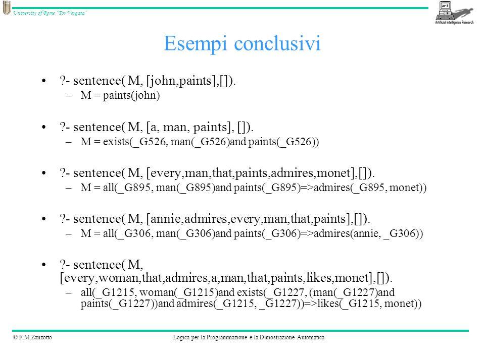 © F.M.ZanzottoLogica per la Programmazione e la Dimostrazione Automatica University of Rome Tor Vergata ?- sentence( M, [john,paints],[]). –M = paints