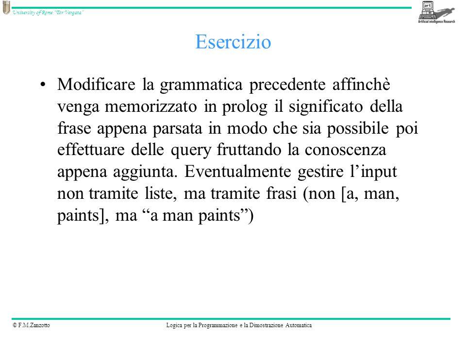 © F.M.ZanzottoLogica per la Programmazione e la Dimostrazione Automatica University of Rome Tor Vergata Modificare la grammatica precedente affinchè v