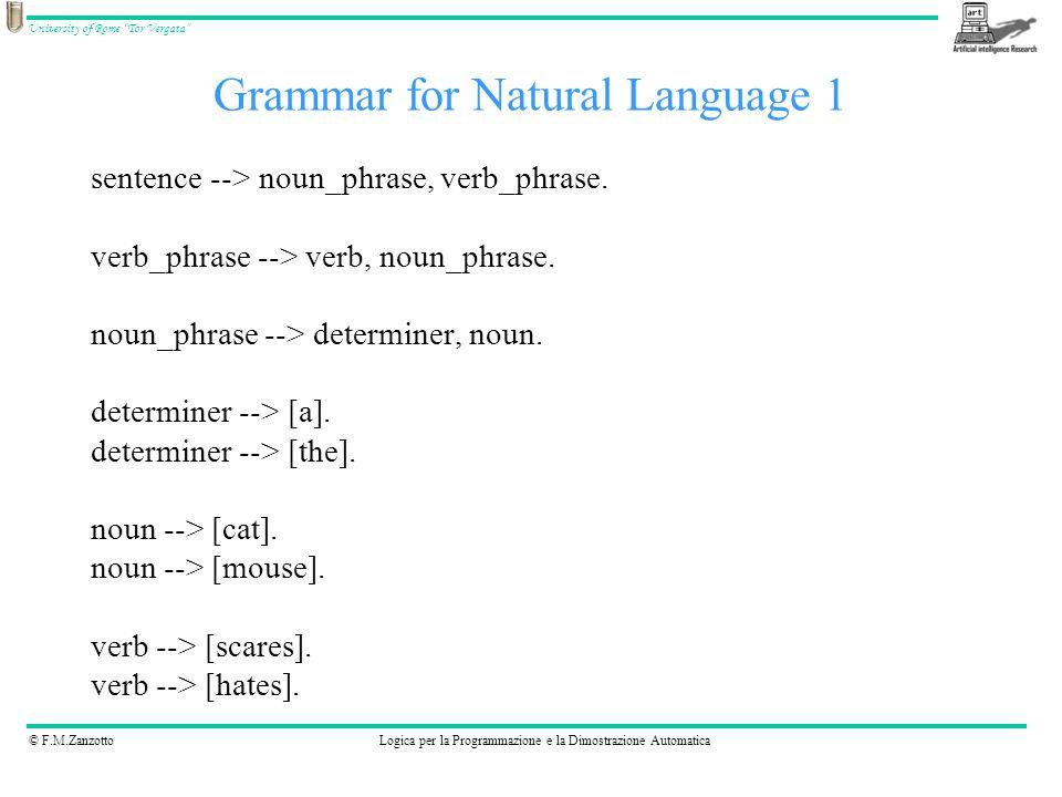 © F.M.ZanzottoLogica per la Programmazione e la Dimostrazione Automatica University of Rome Tor Vergata sentence --> noun_phrase, verb_phrase. verb_ph