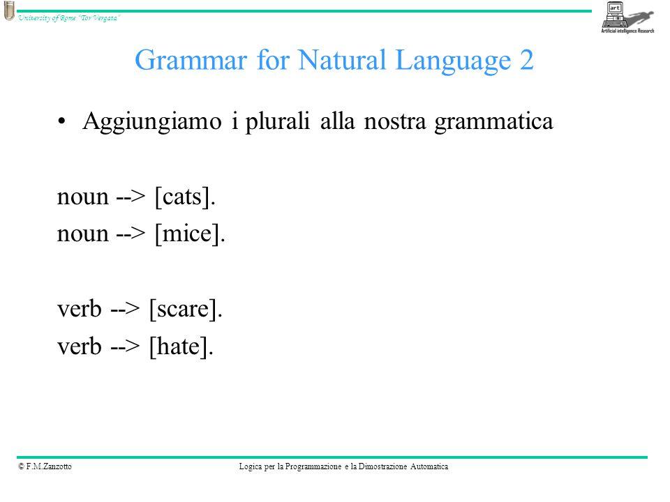 © F.M.ZanzottoLogica per la Programmazione e la Dimostrazione Automatica University of Rome Tor Vergata sentence(Number, sentence(NP, VP)) --> noun_phrase(Number, NP), verb_phrase(Number, VP).