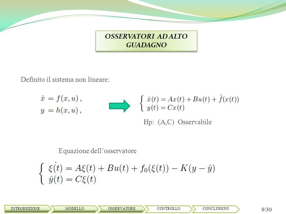 OSSERVATORI AD ALTO GUADAGNO INTRODUZIONE 9/30 MODELLOOSSERVATORECONTROLLOCONCLUSIONI Hp: (A,C) Osservabile Equazione dellosservatore Definito il sist