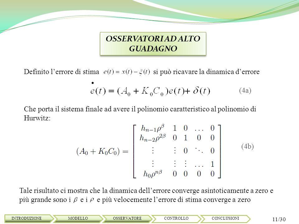 OSSERVATORI AD ALTO GUADAGNO INTRODUZIONE 11/30 MODELLOOSSERVATORECONTROLLOCONCLUSIONI Definito lerrore di stima si può ricavare la dinamica derrore C
