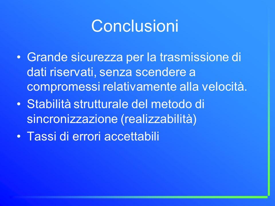 Conclusioni Grande sicurezza per la trasmissione di dati riservati, senza scendere a compromessi relativamente alla velocità. Stabilità strutturale de