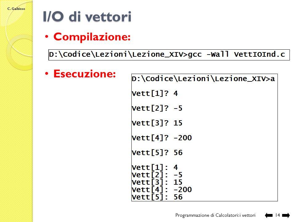 C. Gaibisso I/O di vettori Programmazione di Calcolatori: i vettori13 // funzione per la restituzione del contenuto di un vettore di interi void ResVe