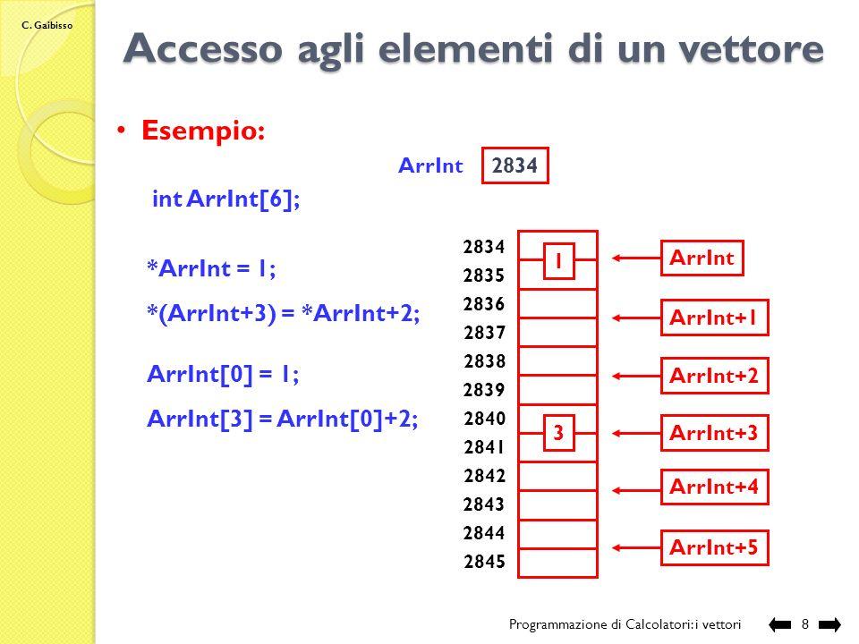 C. Gaibisso Accesso agli elementi di un vettore Programmazione di Calcolatori: i vettori7 Indirizzi: nome Vett nome Vett +1 *(nome Vett ) *(nome Vett