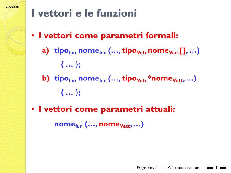 C. Gaibisso Accesso agli elementi di un vettore Programmazione di Calcolatori: i vettori8 Esempio: int ArrInt[6]; *ArrInt = 1; *(ArrInt+3) = *ArrInt+2