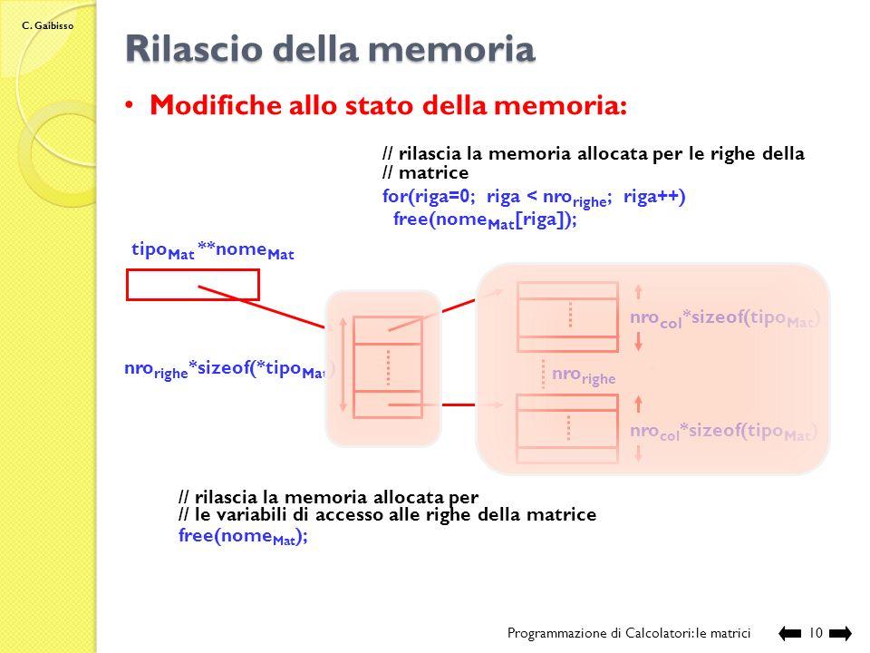 C. Gaibisso Allocazione dinamica di una matrice Programmazione di Calcolatori: le matrici9 tipo Mat **nome Mat Modifiche allo stato della memoria: nro